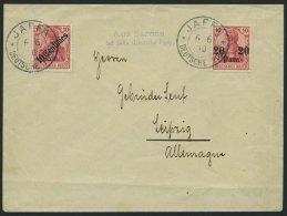 DP TÜRKEI 37,49 BRIEF, 1910, 20 Pa. Auf 10 Pf. Und 10 C. Auf 10 Pf. Auf Brief Von JAFFA Mit Nebenstempel L2 Aus Sar