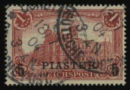 DP TÜRKEI 20II O, 1903, 5 PIA. Auf 1 M., Aufdruck Type II, Pracht, Mi. 130.-