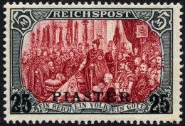 DP TÜRKEI 23I/IV *, 1900, 25 PIA. Auf 5 M., Type I, Nachmalung Nur Mit Deckweiß, Falzrest, Pracht, Mi. 380.-