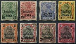DP TÜRKEI 12-19ISP *, 1900, 10 PA. Auf 5 Pf. - 4 PIA. Auf 80 Pf., Aufdruck SPECIMEN, Falzrest, 8 Prachtwerte, Mi. 1