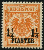 DP TÜRKEI 9ba *, 1899, 11/4 PIA. Auf 25 Pf. Dunkelorange, Falzrest, Pracht, RR!, Fotoattest Jäschke-L., Mi. 12
