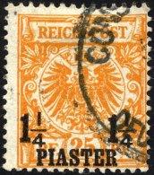 DP TÜRKEI 9a O, 1889, 11/4 PIA. Auf 25 Pf. Gelborange, Pracht, R!, Fotoattest Jäschke-L., Mi. (350.-)