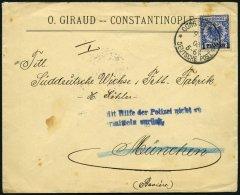 DP TÜRKEI 8d BRIEF, 1897, 1 PIA. Auf 20 Pf. Violettultramarin, Stempel CONSTANTINOPEL 1a, Auf Brief Nach Münch