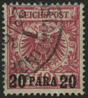DP TÜRKEI 7a O, 1889, 20 PA. Auf 10 Pf. Rosarot, Kleine Falzhelle Stelle Sonst Pracht, Gepr. Jäschke-L., Mi. 1