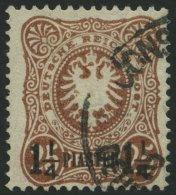 DP TÜRKEI 4b O, 1887, 11/4 PIA. Auf 25 Pf. Orangebraun, Rückseitige Schürfung Sonst Pracht, Gepr. Jä
