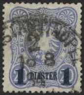 DP TÜRKEI 3b O, 1884, 1 PIA. Auf 20 Pf. Violettultramarin, Aufdruck Blauschwarz, üblich Gezähnt Pracht, M