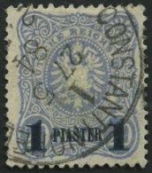 DP TÜRKEI 3b O, 1884, 1 PIA. Auf 20 Pf. Violettultramarin, Aufdruck Blauschwarz, Feinst, Gepr. Drahn, Mi. 90.-