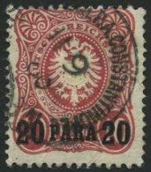 DP TÜRKEI 2b O, 1886, 20 PA. Auf 10 Pf. Dunkelrosarot Mit Wiederverwendetem Stempel Konstantinopel Nr. 3 In Therapi