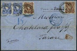 DP TÜRKEI V 34a,35a BRIEF, 2.7.1875, 20 Pfe. Ultramarin Und 25 Pfe. Rötlichbraun, Jeweils 2x Auf Dekorativem B