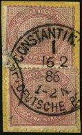 DP TÜRKEI V 37c BrfStk, 1886, 2 M. Mittelrosalila, 2x Auf Postabschnitt, Stempel Konstantinopel 6, Kleine Mäng