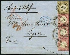DP TÜRKEI V 19,22 BRIEF, 14.2.1874, 1 Gr. Im Senkrechten Dreierstreifen (2 Marken Waagerechte Reg.-Bugspuren) Und 5