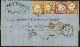 DP TÜRKEI V 18,19,21a BRIEF, 17.10.1873, 1/2 Gr. (2x Kleine Marke) Mit 1 Gr. Und 21/2 Gr. Großer Brustschild