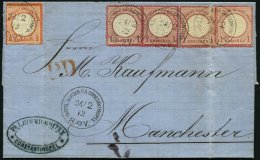 DP TÜRKEI V 3,4 BRIEF, 24.2.1872, 1/2 Gr. Und 4x 1 Gr. Kleiner Brustschild Auf Brief über TRIEST Nach Manchest