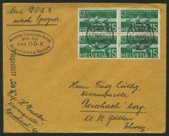 DO-X LUFTPOST DO X3.003.CH BRIEF, 23.05.1932, DO X 3, FELDIS GRAUBÜNDEN Auf Viererblock 15. C. Flugpost, Violetter