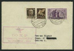 DO-X LUFTPOST DO X2 I BRIEF, 16.10.1931, DO X 2 UMBERTO MADDALENA VOLO SPEZIALE COMO-GENOVA, Roter R2 Auf Brief Nach Gen