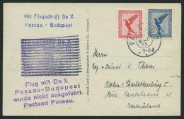 DO-X LUFTPOST 68.a. BRIEF, 12.05.1933, Aufgabe Passau Zum Geplanten Budapest-Flug Mit Durchgebalktem Bestätigungsst