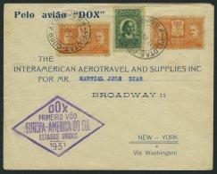 DO-X LUFTPOST 38.BR.a. BRIEF, 17.07.1931, Brasilien, Aufgabe Pelotas, Violetter Rautenstempel, Brief Nach New York, Fein