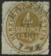 SCHLESWIG-HOLSTEIN 25 O, 1865, 4 S. Braunocker, K2 HANERAU, Normaler Durchstich, Pracht, Gepr. Drahn, Mi. 100.-