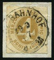 SCHLESWIG-HOLSTEIN 17 BrfStk, 1865, 4 S. Braunocker, K1 KIEL BAHNHOF, Prachtbriefstück, Mi. (100.-)