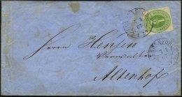 SCHLESWIG-HOLSTEIN 13 BRIEF, 1867, 1/2 S. Lebhaftgrünoliv, Einzelfrankatur Auf Brief (rückseitige Lasche Fehlt