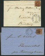 SCHLESWIG-HOLSTEIN DK 4,7 BRIEF, 169 (KIELER BAHNHOF) Auf 4 S. Punktiert Und 4 S. Liniert (3x), 4 Briefe Mit Verschieden