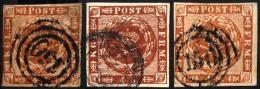 SCHLESWIG-HOLSTEIN DK 7 O, 150 (RATZEBURG) Auf 4 S. Liniert, 3 Werte In Farbnuancen, Leicht Unterschiedlich