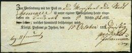 SCHLESWIG-HOLSTEIN 1830, Postschein Mit Ortsdruck Itzehoe, Pracht