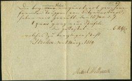 SCHLESWIG-HOLSTEIN 1814, Postschein Mit Ortsdruck Itzehoe, Pracht