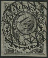 SACHSEN 9 O, 119 (GRÜNA), Zentrisch Auf 1 Ngr. Schwarz, Riss Im Oberrand Sonst Pracht