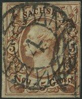 SACHSEN 12e O, 1857, 5 Ngr. Rostbraun, Nummernstempel 4, Rechts Minimal Berührt Sonst Pracht, Gepr. Rismondo, Mi. 2