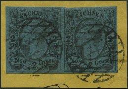 SACHSEN 10a Paar BrfStk, 1855, 2 Ngr. Schwarz Auf Mittelblau Im Waagerechten Paar, Nummernstempel 17, Kabinettbriefst&uu