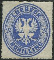 LÜBECK 11 *, 1863, 21/2 S. Dunkelultramarin, Falzreste, Pracht, Mi. 160.-