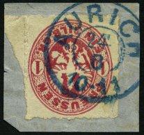 HANNOVER Pr 16 BrfStk, AURICH, Blauer K2 Auf 1 Sgr. Rosa, Randstück, Prachtbriefstück