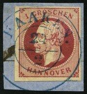 HANNOVER 14a BrfStk, HAAREN, Blauer K2 Auf 1 Gr. Rosa, Prachtbriefstück