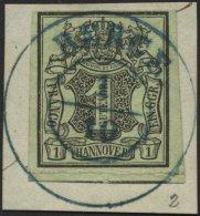 HANNOVER 2a BrfStk, BERGE, Blauer K2 Zentrisch Auf 1 Ggr. Schwarz Auf Olivgrau Auf Briefstück, Feinst