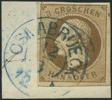 HANNOVER 19a BrfStk, 1861, 3 Gr. Braun, Blauer K2 OSNABRÜCK, Prachtbriefstück, Mi. (70.-)