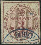HANNOVER 13b O, 1859, 3 Pf. Dunkelrosa, Pracht, Gepr. Drahn, Mi. 200.-