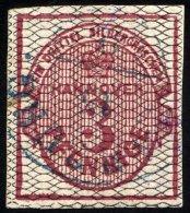 HANNOVER 8a O, 1856, 3 Pf. Karmin, Schwarz Genetzt, Winzige Knitterspur Sonst Breitrandig Pracht, Mi. 350.-