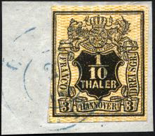 HANNOVER 7a BrfStk, 1855, 1/10 Th. Schwarz, Orange Genetzt, Prachtbriefstück, Signiert H.K., Mi. 200.-