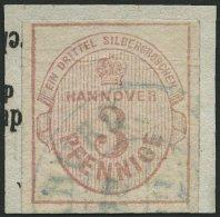 HANNOVER 6a BrfStk, 1853, 3 Pf. Mattlilarosa, Mit Wz., Blauer K2 (HAR)BURG, Leichte Aufklebefalten Sonst Prachtbriefst&u