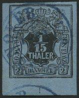 HANNOVER 4 O, 1851, 1/15 Th. Schwarz Auf Graublau, Untere Linke Bogenecke Mit Nr. 1, Blauer K2, Pracht, Gepr. Bühle