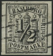 HAMBURG 1 O, 1859, 1/2 S. Schwarz, Helle Stelle Sonst Breitrandig Pracht, Gepr. Lange, Mi. 750.-