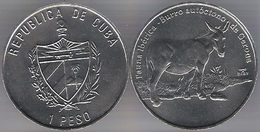 Cuba 1 Peso 2007 Burro Donkey Gerona Endangered Species Iberic Animals UNC - Cuba