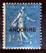 "Andorra (French Adm.), 1f. Sower ""Semeuse"", 1931, MH VF - French Andorra"