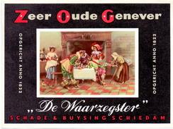 Etiket étiquette Genever Genièvre De Waarzegster Schade & Buysing Schiedam - Otros