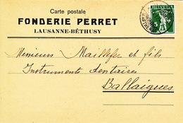 Carte Postale FONDERIE PERRET, Lausanne-Béthusy 21.IV.1917
