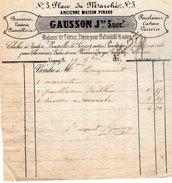VP9148 -  Facture - Magasin De Faience, Poterie...GAUSSON Jne à LAGNY ( Seine & Marne ) - 1800 – 1899