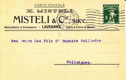 Document D'entreprise X. Mistelle & Cie Quincaillerie, Ferronnerie, Lausanne 6.8.1917