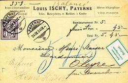 Carte Entreprise Louis Ischy, Vélos, Motocyclettes, M.à Coudre. Payerne. Timbre 64 Bb, Mi. 57Yb. Cote 130 CHF
