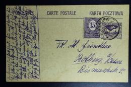 Oberschlesien Postkarte P 4 + Zusatzfrankatur Skalung 20-3-20  -> Holberg